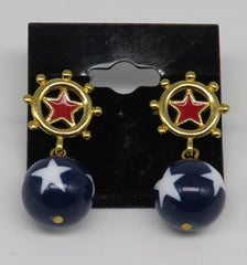 Gold, Red, White & Blue Ships Wheel Dangle Earrings