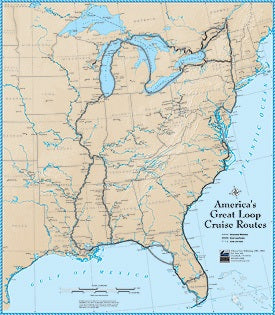 America's Great Loop (AGLCA) Cruise Routes Poster Waterproof Chart (23