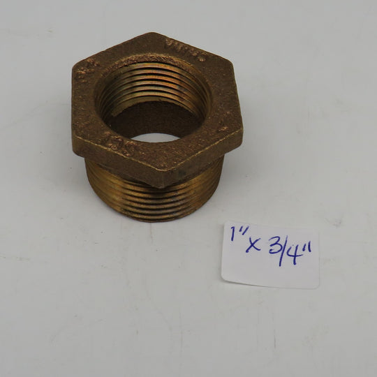 1 x 3/4 Groco Bronze Brass Hex Head Pipe Bushing 1