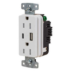 Hubbell 15A Receptacle 3A 5V USB Port White (USB15ACW)