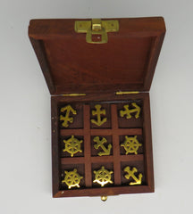 Nautical Wooden Boxed Tic-Tac-Toe Game