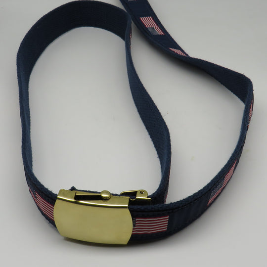 Nautical Belt American Flag Belt #S85 24K Buckle on Brass Plated Size 46