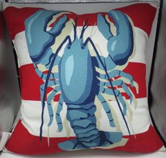 Nautical All Weather Indoor/Outdoor Red & White Striped Anchor & Rope or Lobster Pattern 18