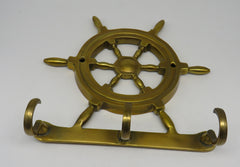 Nautical Brass Wheel With 3 Hooks in Brass Antique Finish