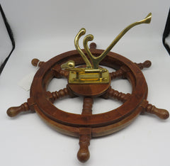 Wooden & Brass Nautical Ships Wheel 4 Hook