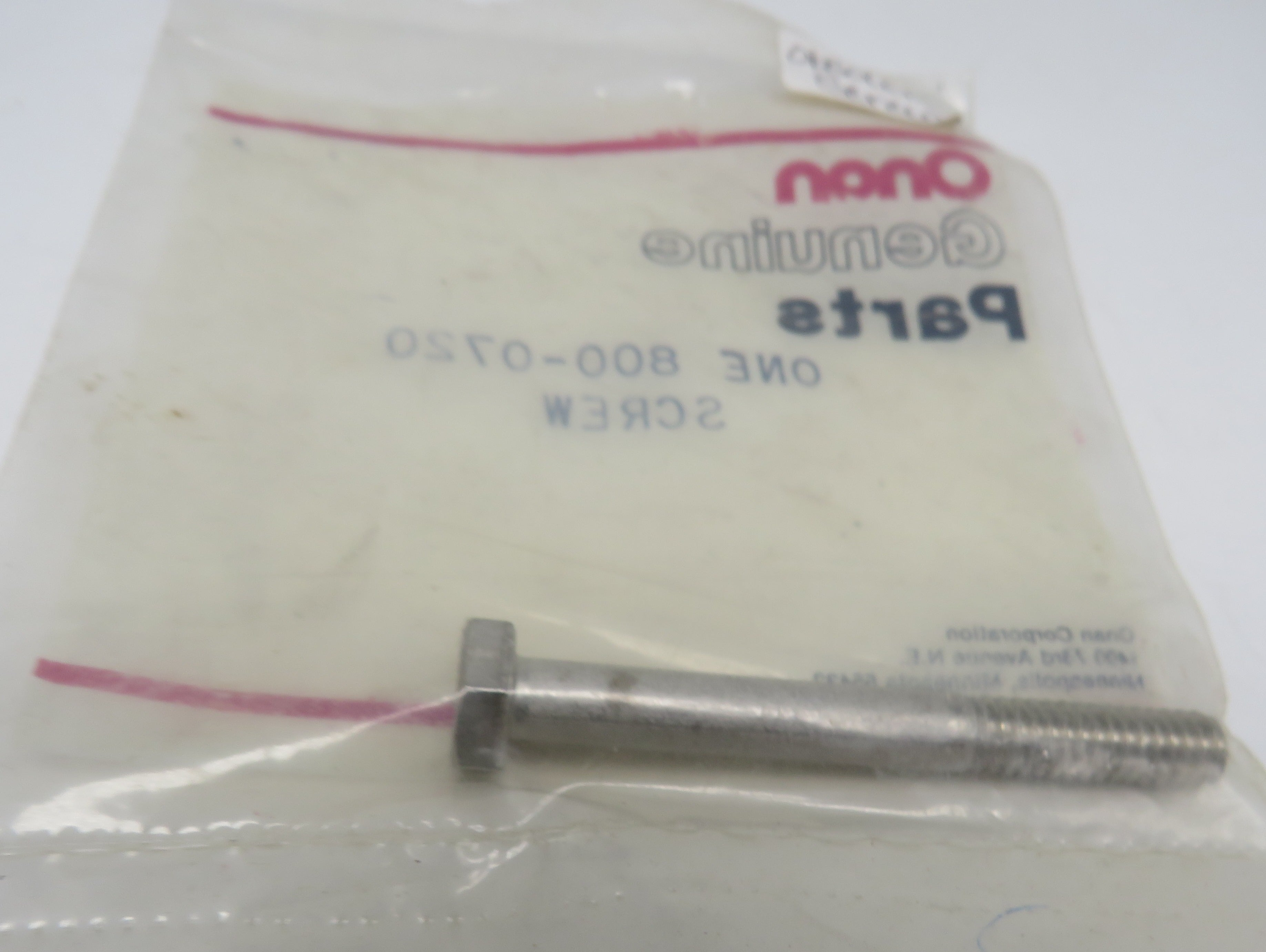800-0720 Onan Screw-Hex Head Cap (OBSOLETE) For MCCK Series Marine Electric Generating Sets (Spec A-G)
