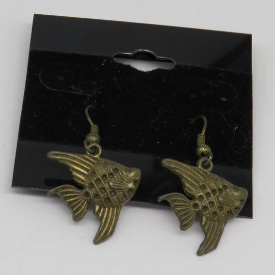 Petite Bronze Sunfish Wire Dangle Earrings