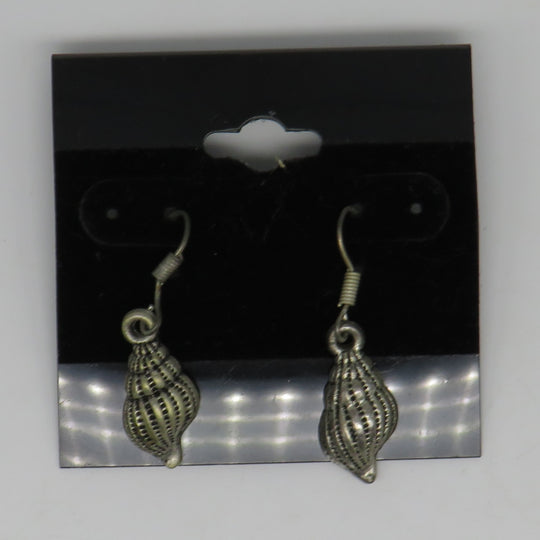 Petite Bronze Wire Seashell Earrings