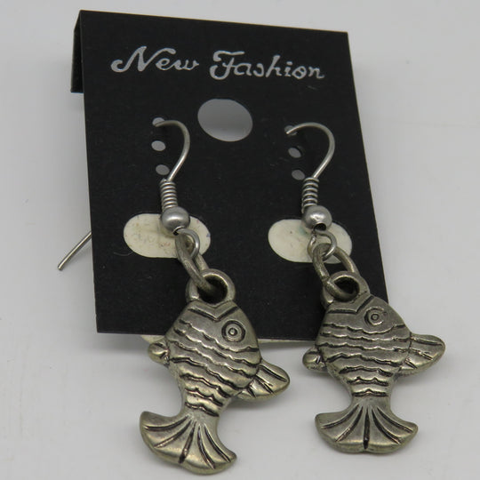 Silver Fish Dangle Wire Earrings Medium Bass