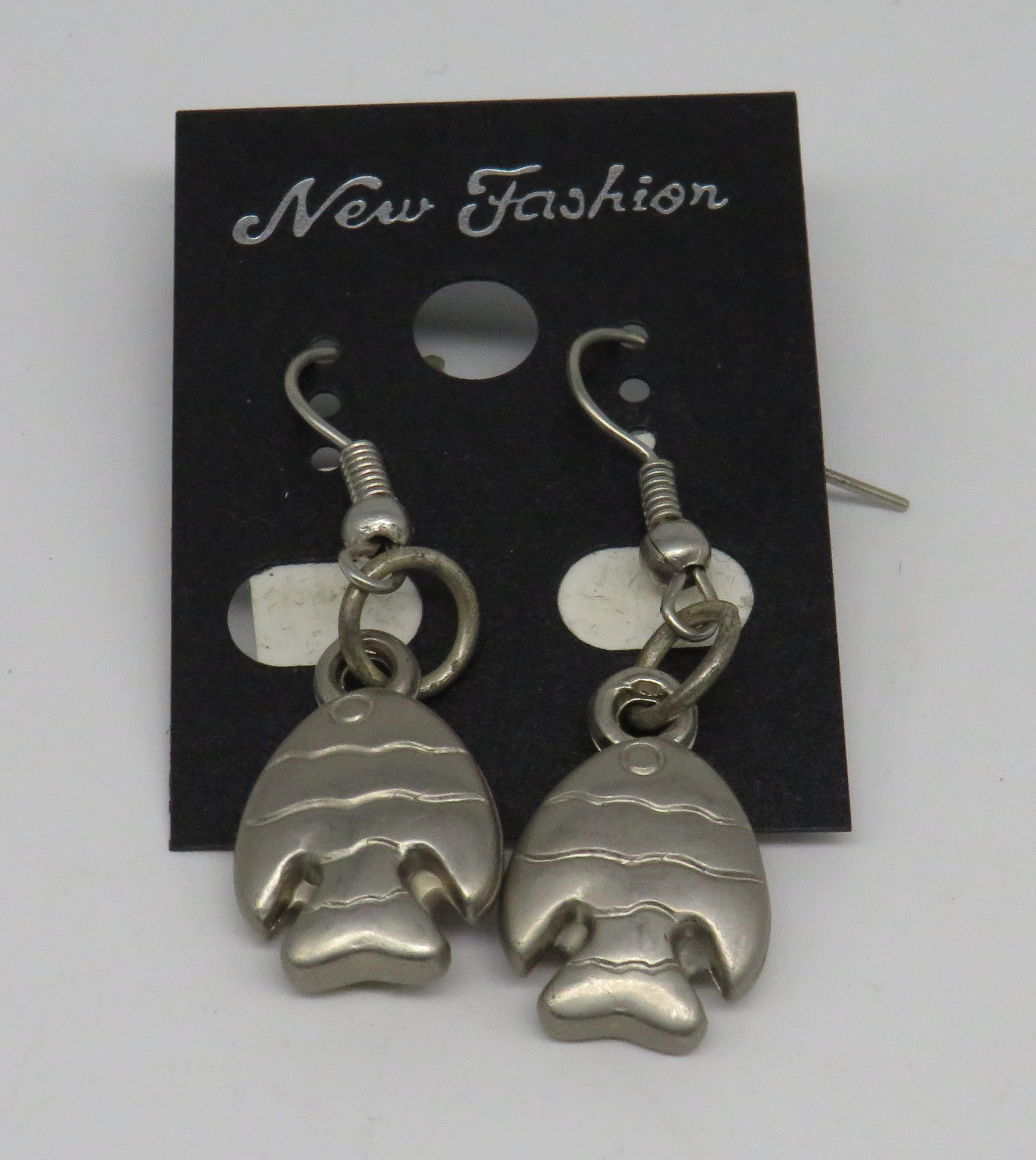 Silver Fish Dangle Wire Earrings Medium Sunfish
