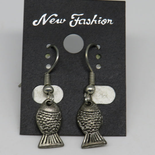 Silver Fish Dangle Wire Earrings Mini Fish Style 1