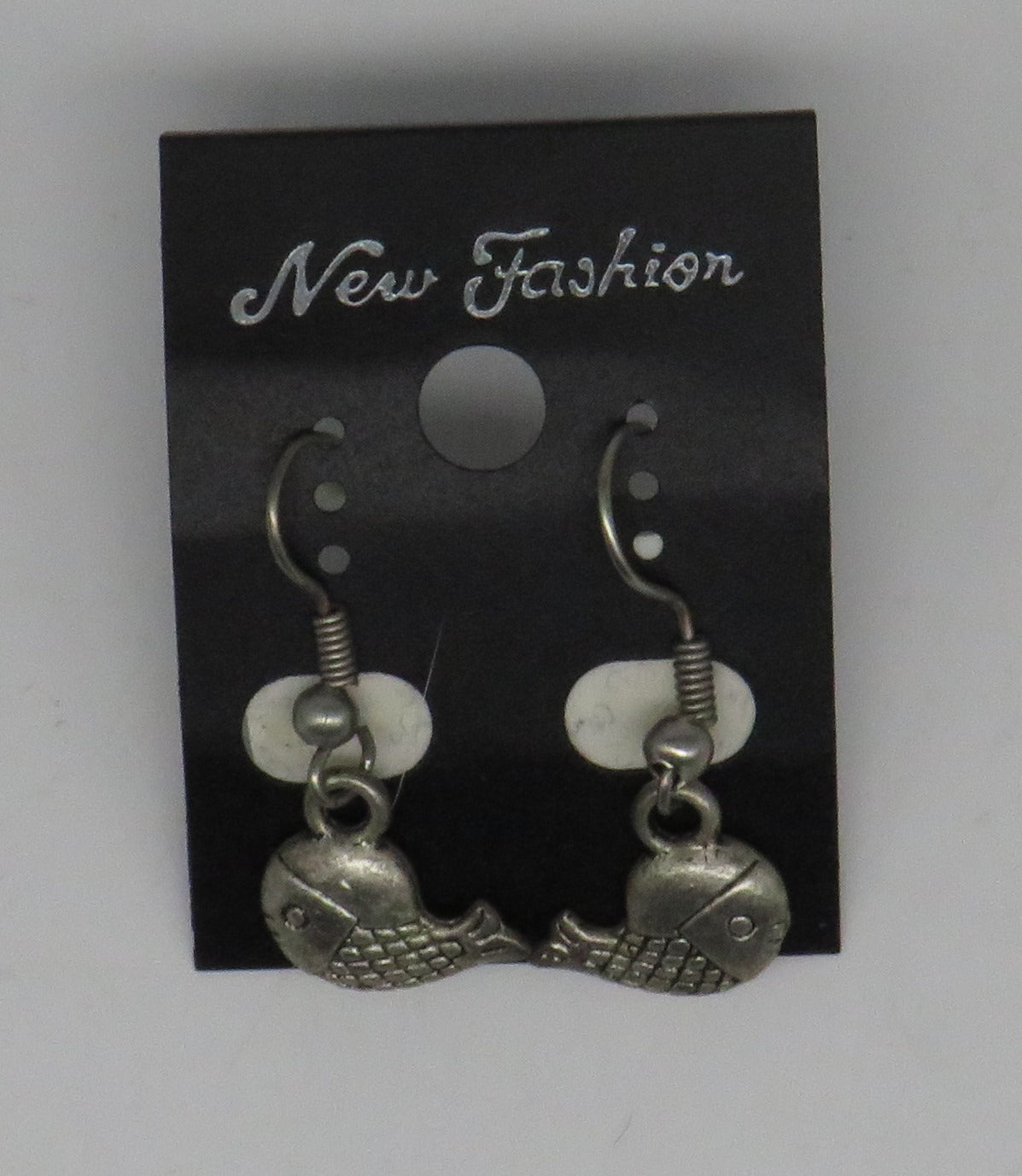 Silver Fish Dangle Wire Earrings Mini Fish Style 2