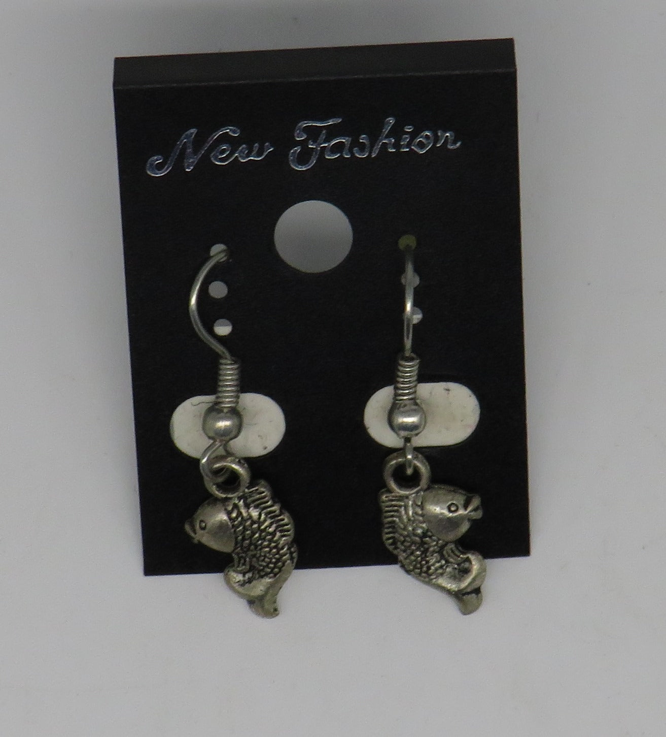 Silver Fish Dangle Wire Earrings Mini Fish Style 3