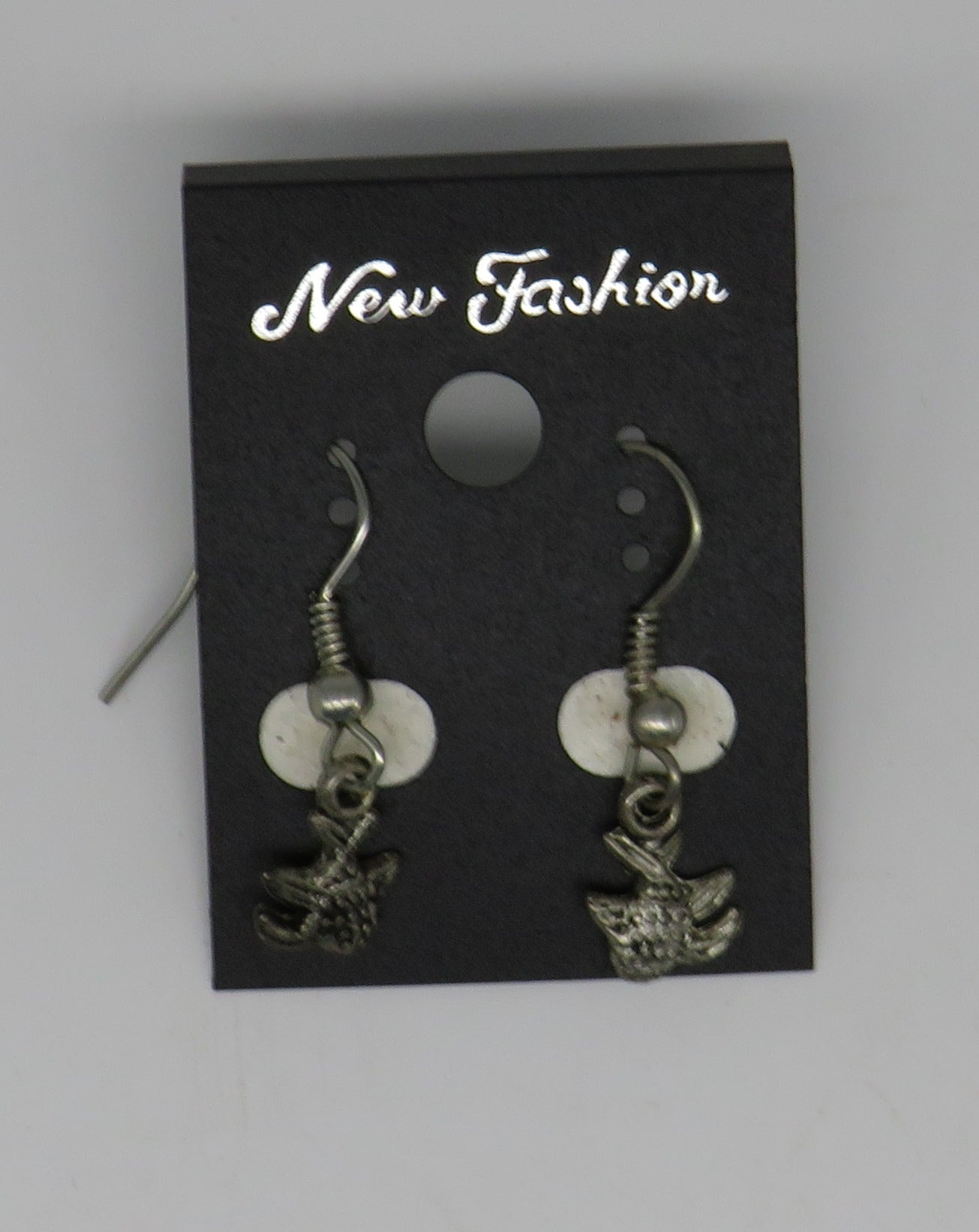 Silver Fish Dangle Wire Earrings Mini Fish Style 4