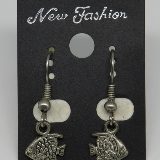Silver Fish Dangle Wire Earrings Mini Sunfish