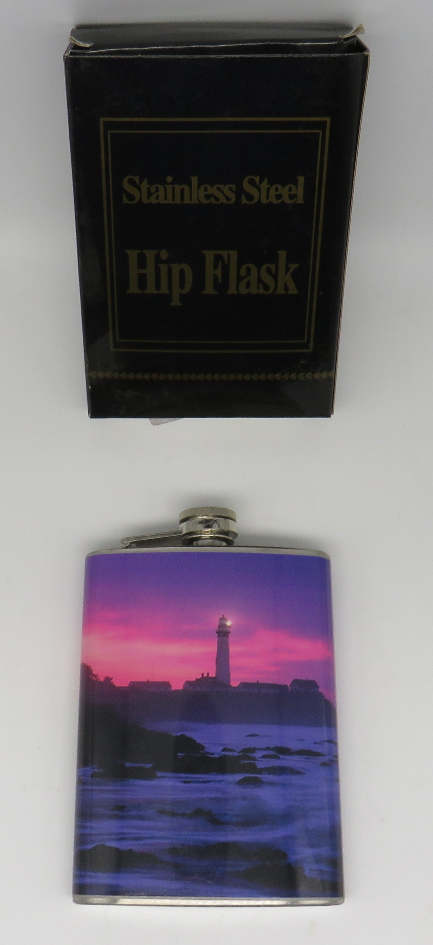 Nautical Lighthouse Pink Sky Flask Stainless Steel