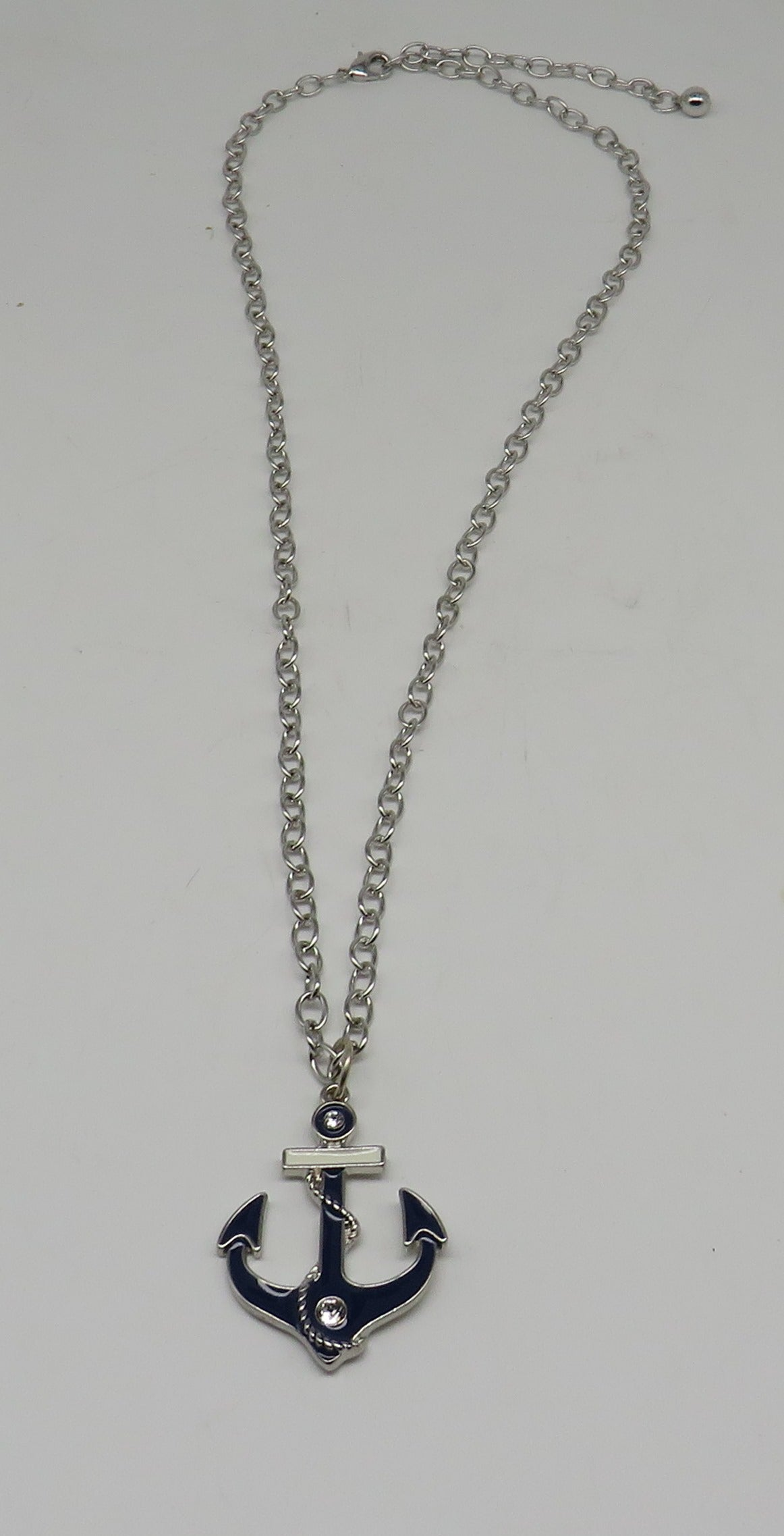 Swarovski Crystals Anchor Necklace Layered Sterling Silver