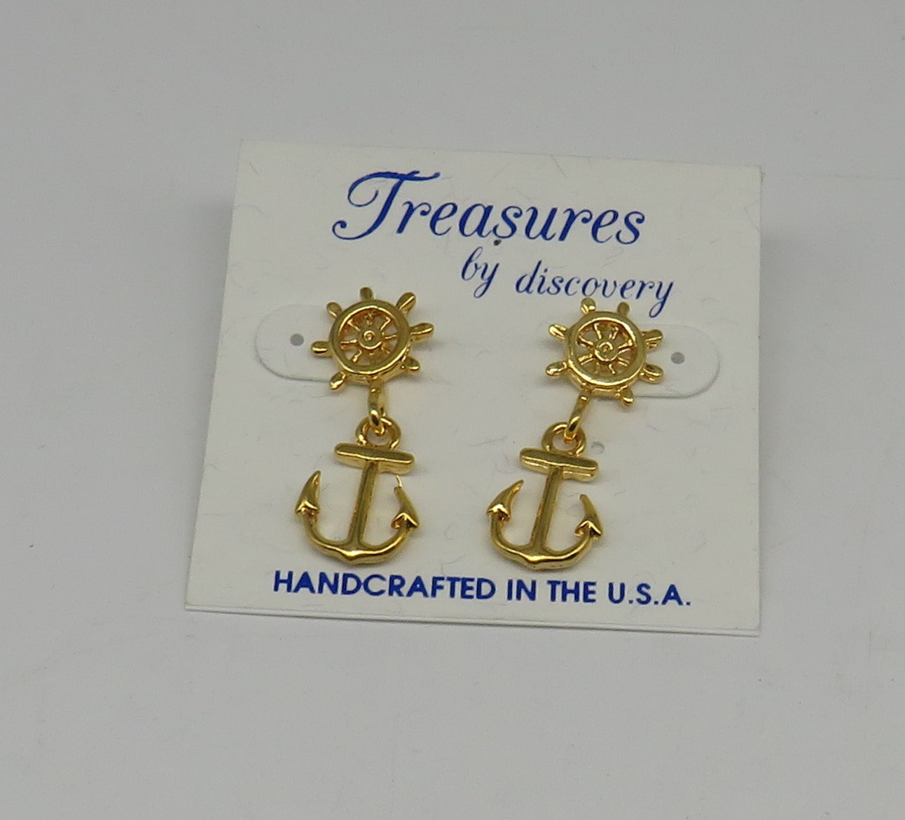 Ships Wheel with Anchor Dangle Earrings-Layered 24 Karat Gold