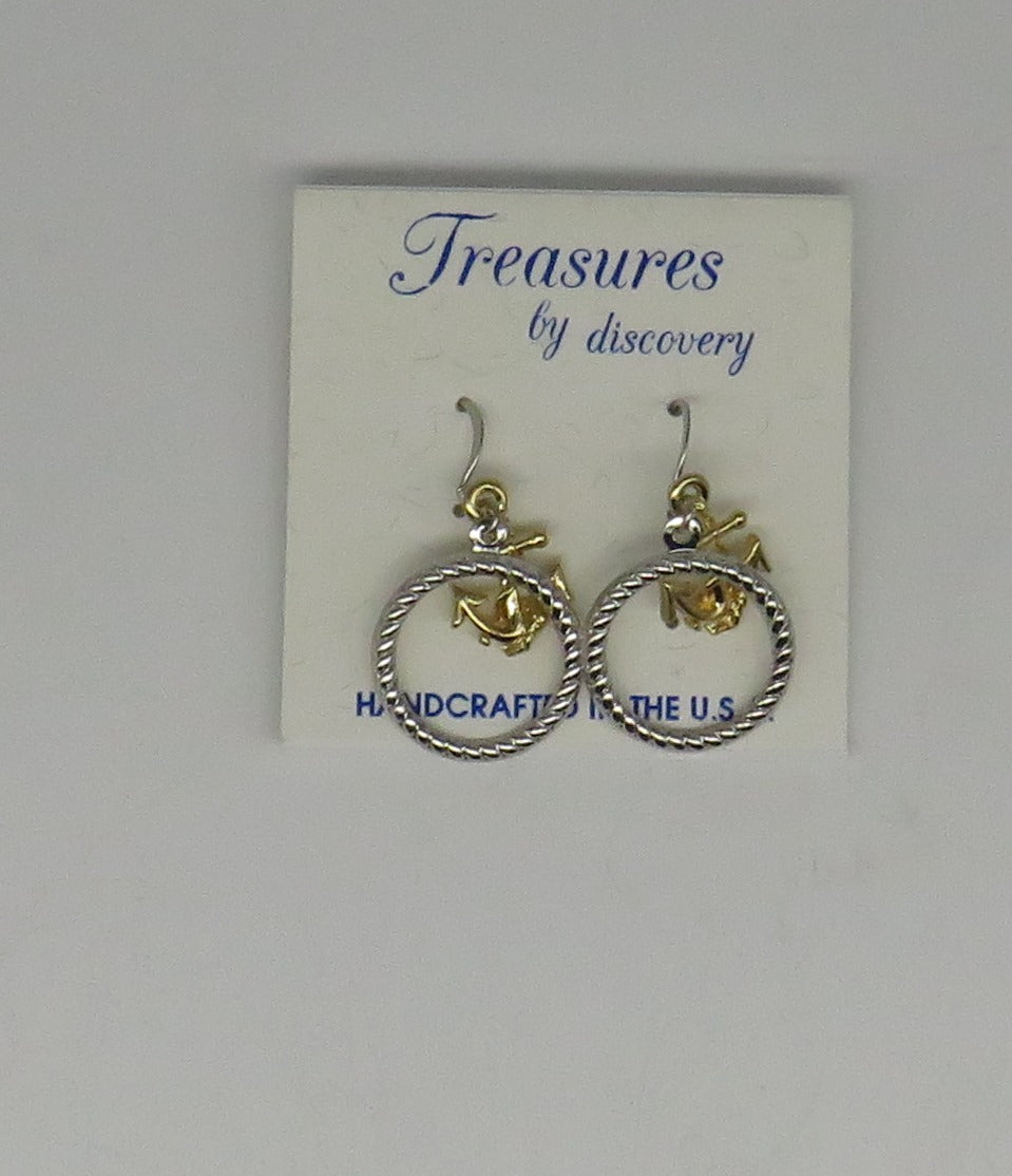 Anchor with Rope Circle Two Tone Drop Earrings