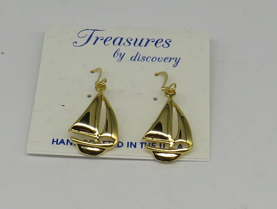 Sailboat Drop Earrings-Layered 24 Karat Gold