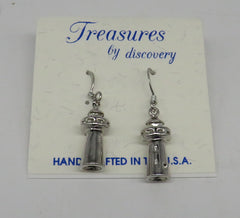 3D Lighthouse Earrings Layered Sterling Silver