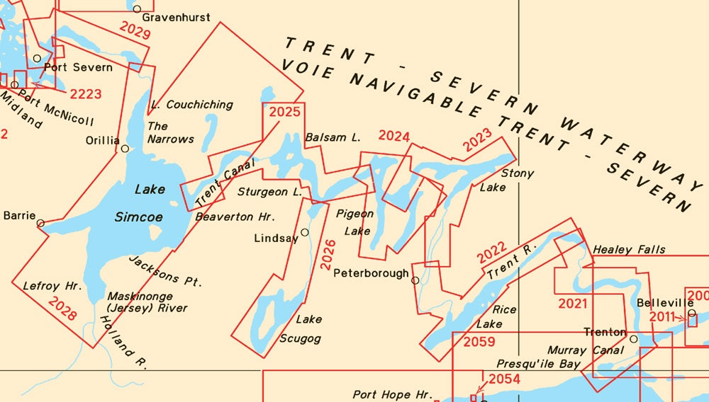 Trent-Severn Waterway Canadian SET of Charts 2021, 2022, 2023, 2024, 2025, 2028 & 2029