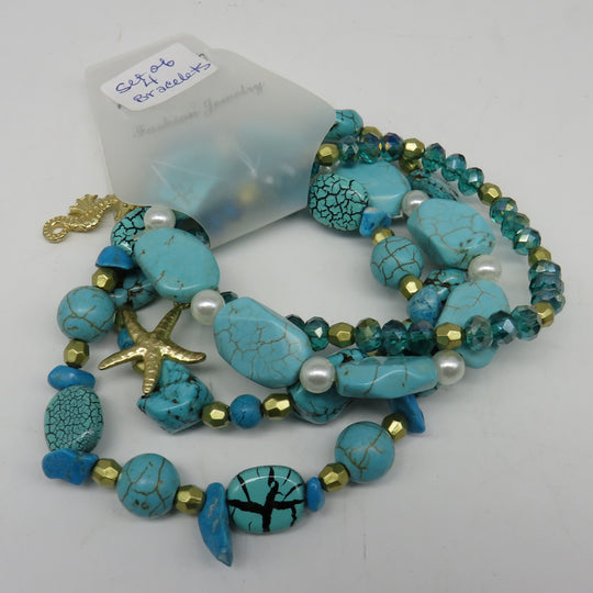 Nautical Sealife Turquoise Beaded Bracelets (Set of 4)