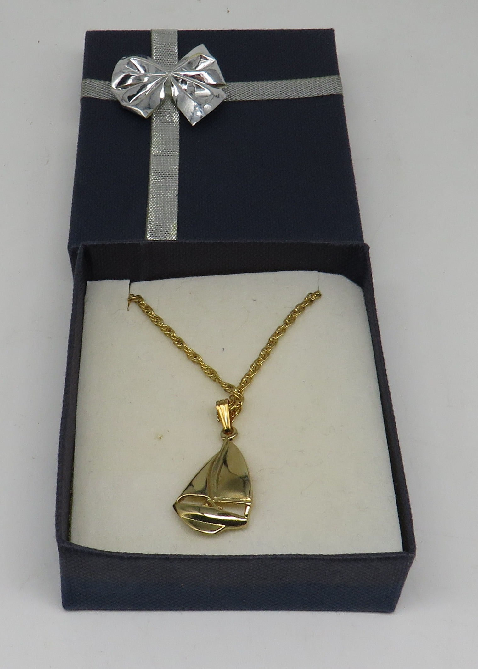 Gold Sailboat (Sloop) Necklace 20