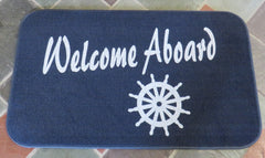 """Welcome Aboard"" Rectangular Mat Rug (Blue-White Lettering)"