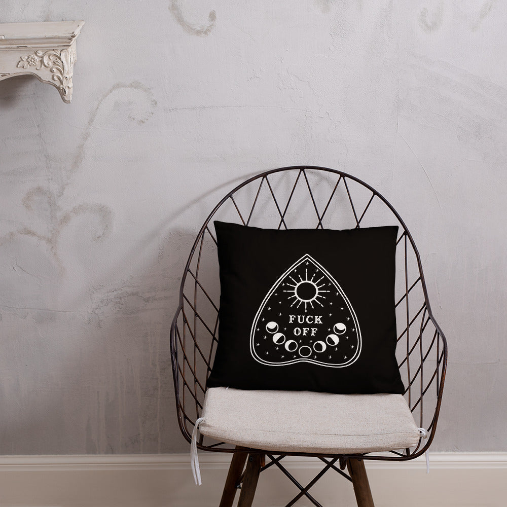Fuck Off Ouiji Planchette Pillow in Black & White
