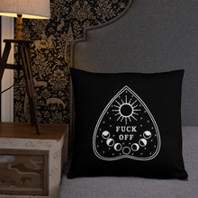 Load image into Gallery viewer, Fuck Off Ouiji Planchette Pillow in Black & White