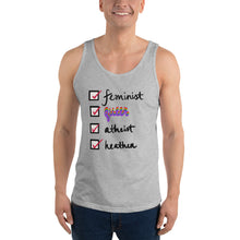Load image into Gallery viewer, Feminist, Queer, Atheist, Heathen Unisex Tank Top