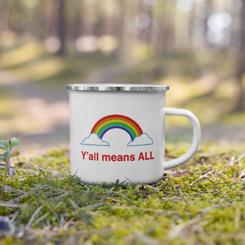 Y'all Means All Enamel Mug
