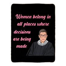 Load image into Gallery viewer, Fleece Sherpa Blankets : Rbg Ruth Bader Ginsburg Quote