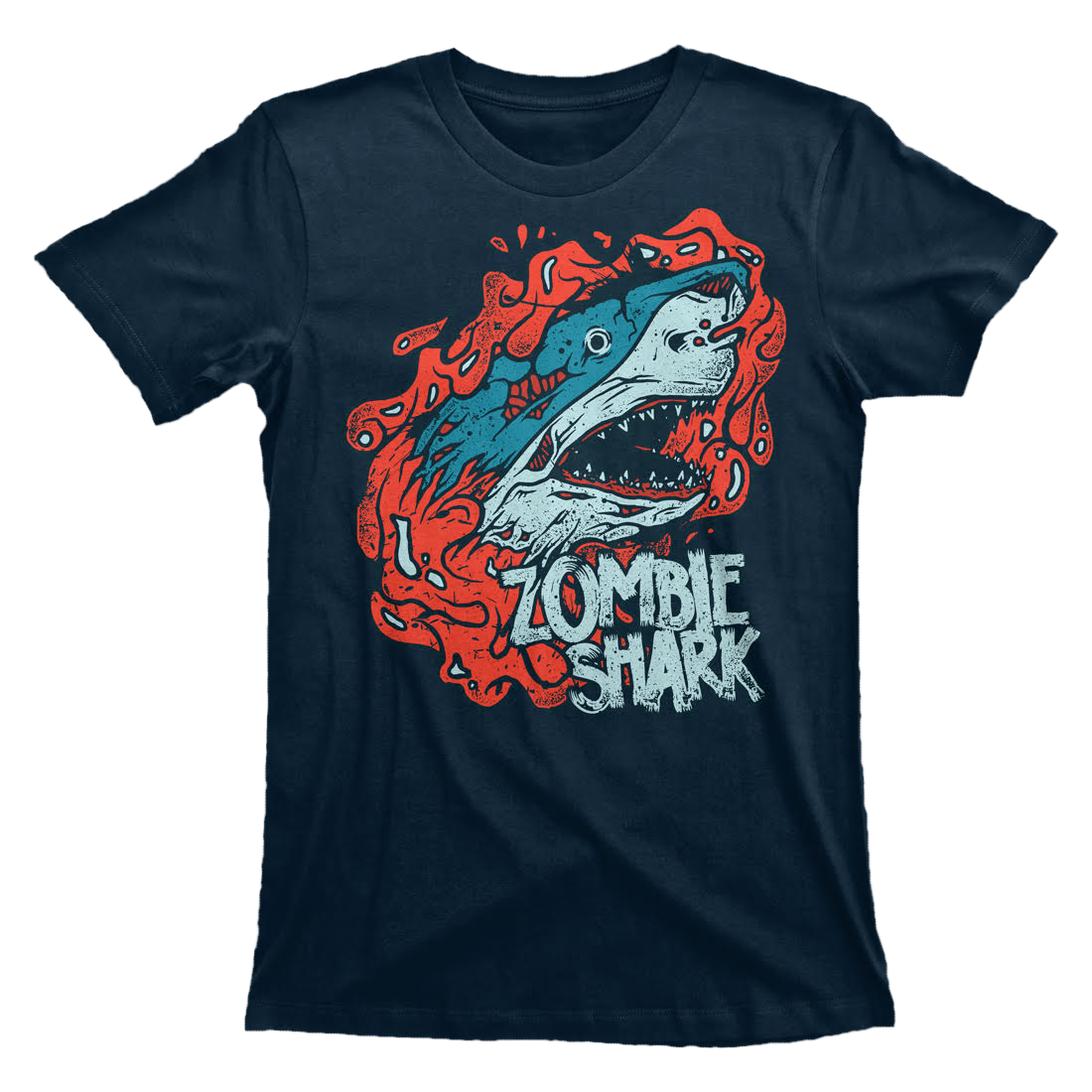 Zombie Shark | Short Sleeve Men's T-Shirt - Midnight Navy