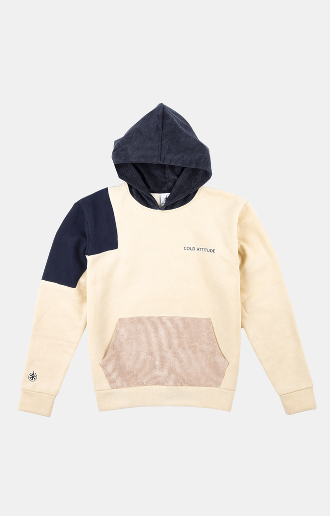 Corduroy Patchwork Hoodie Front