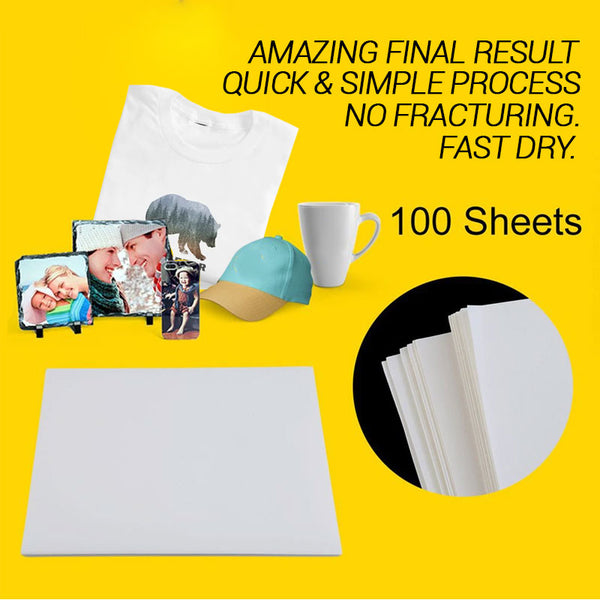 A4 Premium Sublimation Paper | 105G | 100 Sheets | High quality | EXCELLENT PERFORMANCE - Dry in seconds | Vibrant Colours