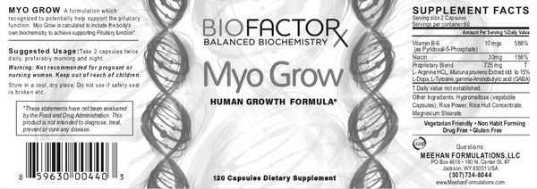 panorama of bottle label for myogrow