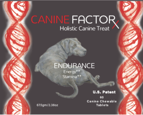 black label with black lab dog image for Canine Factor Endurance