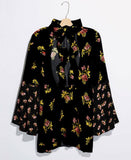 Free People Black Floral High Neck Tunic