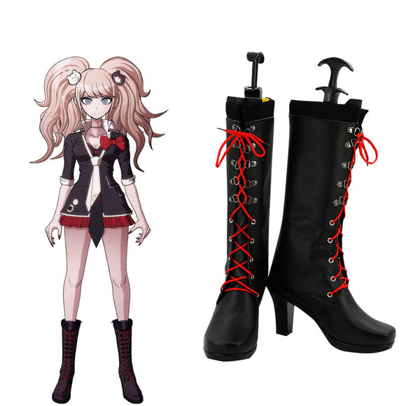 Danganronpa Dangan Ronpa : Trigger Happy Havoc Junko Enoshima Black Shoes Cosplay Boots