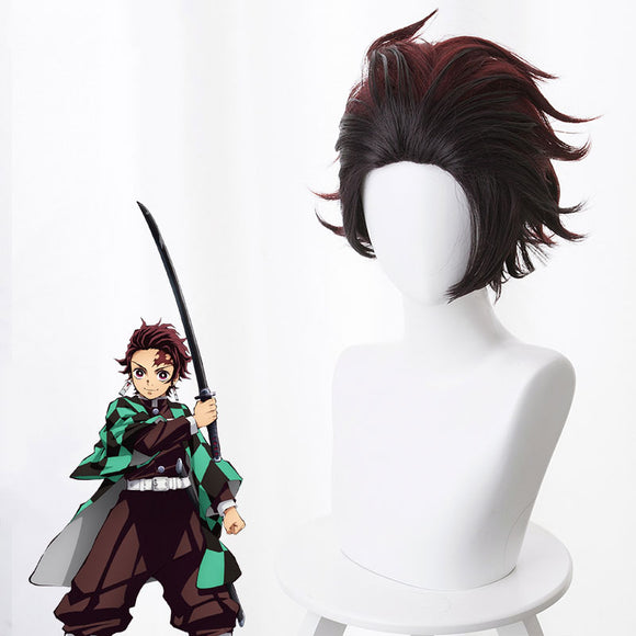Demon Slayer: Kimetsu No Yaiba Kamado Tanjirou Red Brown Cosplay Wig
