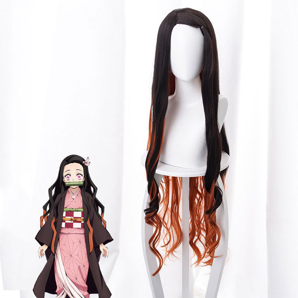 Demon Slayer: Kimetsu No Yaiba Nezuko Kamado Black Orange Cosplay Wig