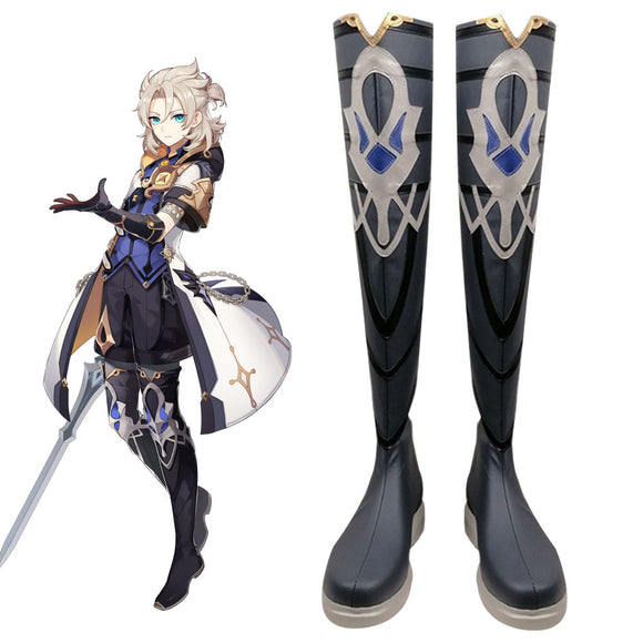 Genshin Impact Albedo Black Shoes Cosplay Boots