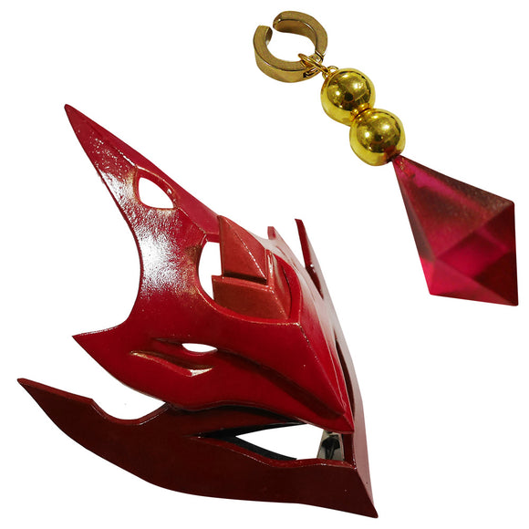 Genshin Impact Childe Tartaglia Head wear Mask and Earring Cosplay Accessory Prop