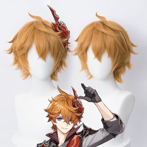 Genshin Impact Childe Tartaglia Orange Cosplay Wig