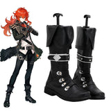 Genshin Impact Diluc Black Shoes Cosplay Boots