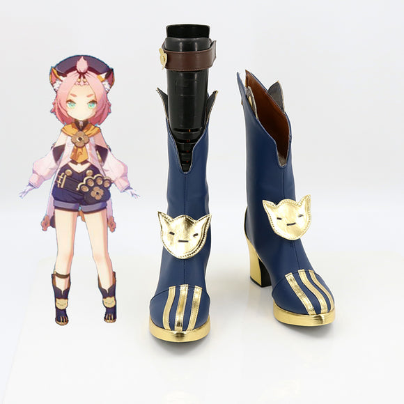 Genshin Impact Diona Blue Shoes Cosplay Boots