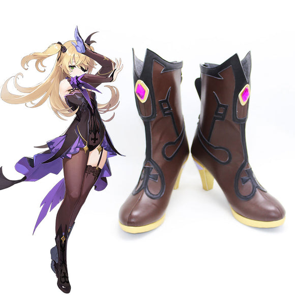 Genshin Impact Fischl Brown Cosplay Shoes