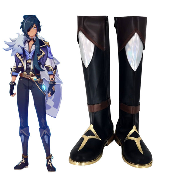 Genshin Impact Kaeya Black Shoes Cosplay Boots